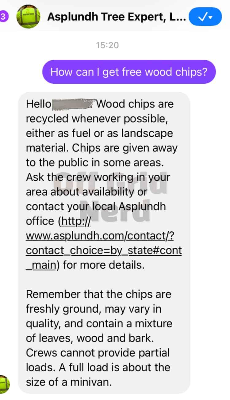 asplundh free wood chips fb text